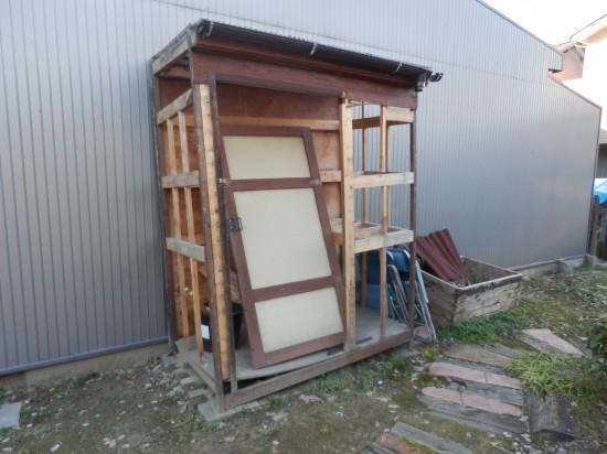 自作木製物置小屋